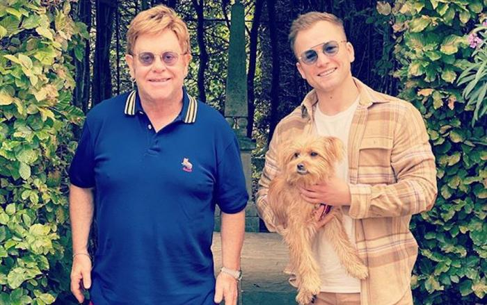Elton John, ledft, with actor Taron Egerton, right.