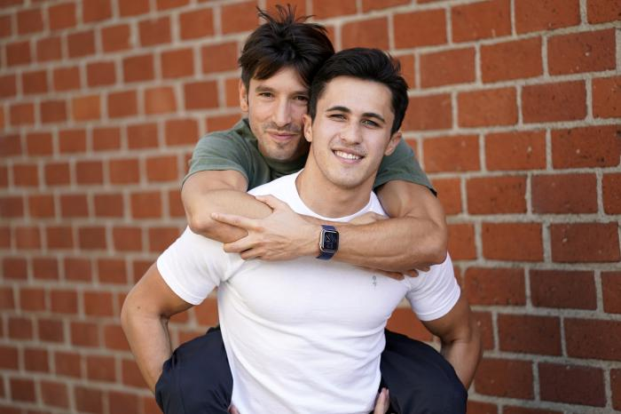 TikTok personalities Ian Paget, left, and Chris Olsen pose for a portrait in West Hollywood, Calif.
