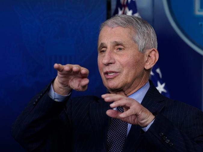 "In this Jan. 21, 2021 file photo, Dr. Anthony Fauci, director of the National Institute of Allergy and Infectious Diseases, speaks with reporters at the White House, in Washington. Fauci won a $1 million award from the Israeli Dan David Foundation for ""courageously defending science"" during the coronavirus pandemic"