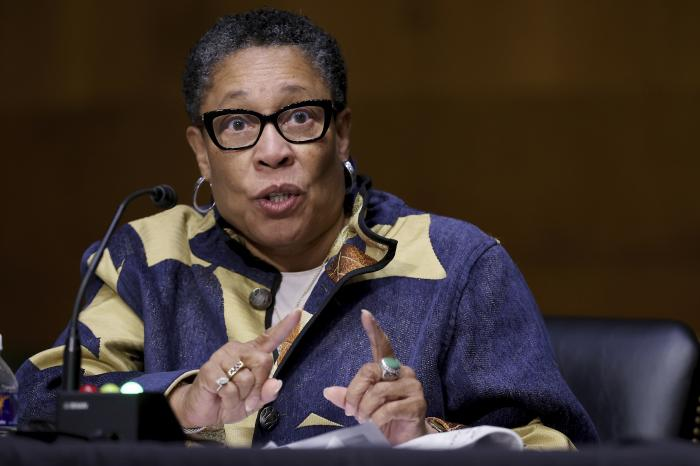 Housing and Urban Development Secretary Marcia Fudge testifies during a Senate Appropriations Committee hearing on Capitol Hill.