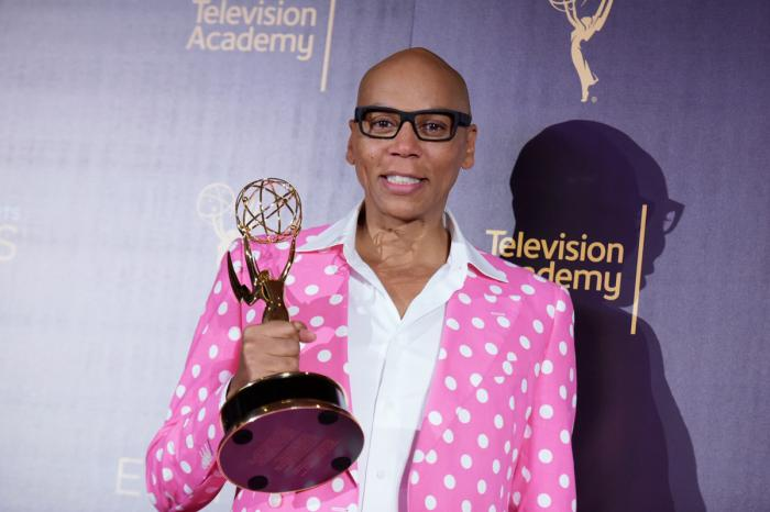 """RuPaul Charles with the award for outstanding host for a reality or reality-competition program for """"RuPaul's Drag Race"""" on Sept. 11, 2016, in Los Angeles"""